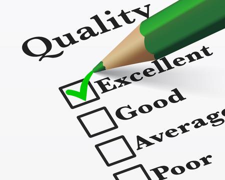 ottimo: Controllo di qualità dei prodotti aziendali indagine e un servizio clienti eccellente lista di controllo con la parola selezionata con un segno di spunta verde EPS 10 illustrazione vettoriale. Vettoriali