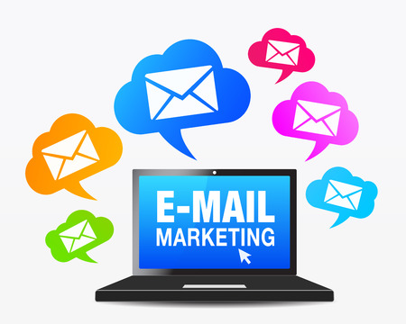 email lists: E-mail marketing concept with a laptop computer and a moltitude of email icon and symbol on colorful speech clouds, vector EPS 10 illustration.