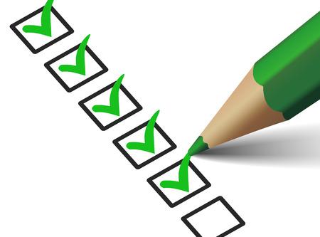 ベクトル緑のチェック マーク記号およびビジネスのためのペンでのチェックリスト上のアイコンは、白い背景の概念、web グラフィック、イラストを  イラスト・ベクター素材