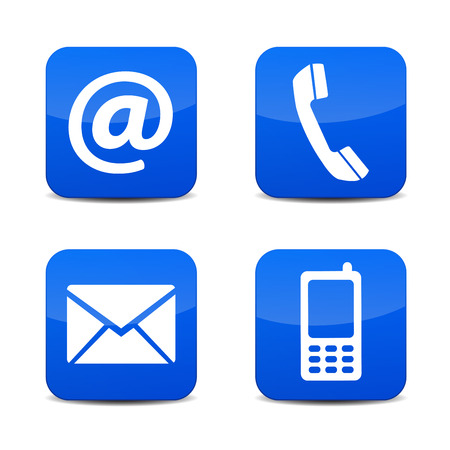 button set: Web contact us icons with telephone, email, mobile phone and at symbol on blue glossy tab badge buttons with shadow vector illustration isolated on white background.