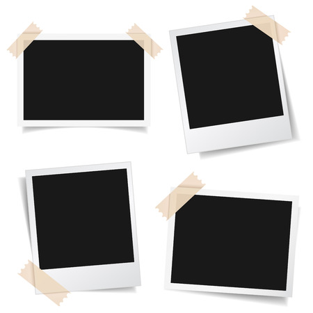Collection of blank photo frames with adhesive tape, different shadow effects and empty space for your photograph and picture. EPS 10 vector illustration isolated on white background. Çizim