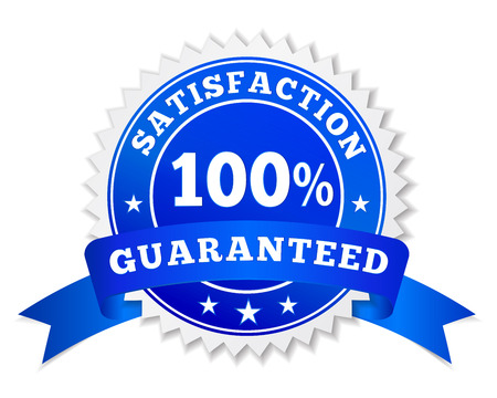 Vector badge and label satisfaction guaranteed colored in blue with text 100 percent, ribbon and stars for marketing and business promo illustration isolated on white background. Illustration