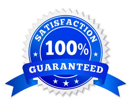Vector Abzeichen und Aufkleber Zufriedenheit garantiert in blau mit Text 100 Prozent, Farbband und Sterne für Marketing und Business Promo-Illustration isoliert auf weißem Hintergrund gefärbt. Standard-Bild - 39663641
