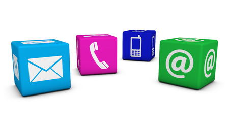 Contact us web and Internet concept with email, mobile phone and at icons and symbol on four colorful cubes for website, blog and on line business.