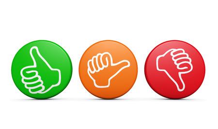 긍정적, 중간 음의 고객 만족 피드백, 엄지 손가락으로 평가 및 설문 조사 버튼 및 흰색 배경에 아이콘 아래로.