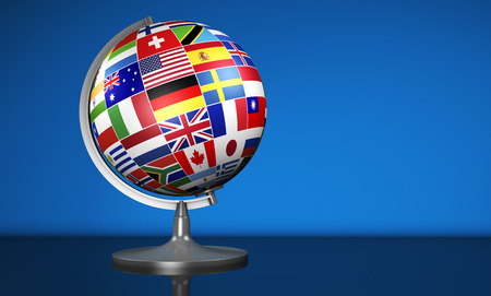 Travel, services, marketing and international business management concept with a school globe and international flags of the world, illustration on blue background.