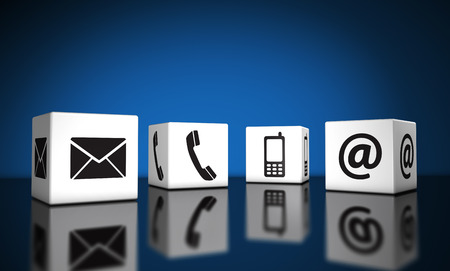 contact us icon: Web contact us and Internet connection concept with email, mobile phone and at icons and symbol on cubes with reflection and blue background for website, blog and on line business.