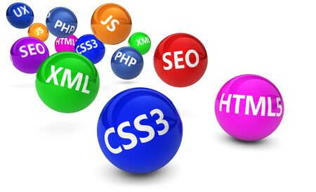 Webdesign Internet and SEO concept with programming language sign on colorful bouncing spheres on white background. photo