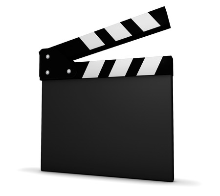 movie clapper: Cinema, film and movie maker concept with a black and white clapperboard with blank space for your business and advertising copy on white background.