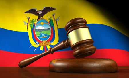 gerechtigkeit: Recht und Gerechtigkeit von Ecuador Konzept mit einem 3D-Rendering von einem Hammer auf einem hölzernen Schreibtisch und die ecuadorianische Fahne im Hintergrund.