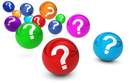 point d interrogation: Question symbole de marque et signe sur color�s rebondissant sph�res 3D Glossy rendent isol� sur fond blanc. Banque d'images