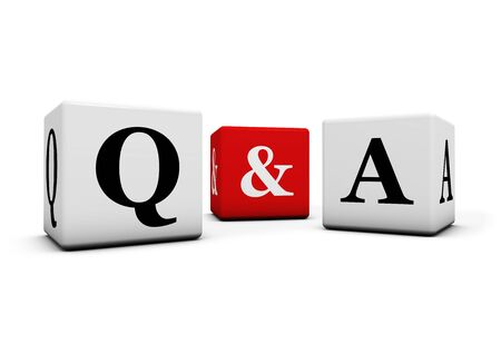 faq: Questions and answers, web faq and business contact center support concept with q and a letter on white and red cubes isolated on white background. Stock Photo