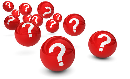 Question mark symbol and sign on red bouncing glossy spheres 3d render isolated on white background. Stockfoto