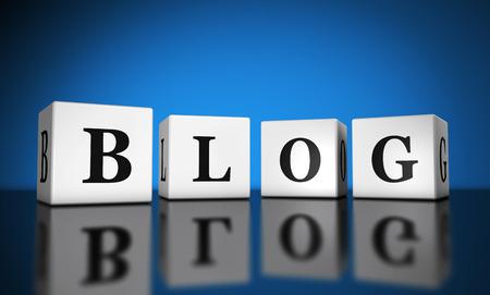 Bloggen, website en Internet concept met blog woord teken op kubussen met reflectie en blauwe achtergrond voor het web en online business.