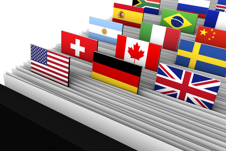 international flags: International business and global market concept with a close-up of a customer file directory with document file and international flags on tags.