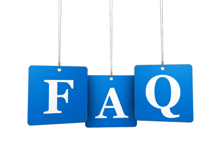 Website support, questioning and help concept with FAQ sign on blue tags isolated on white background.