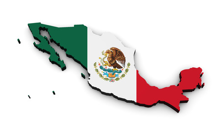 continents: Shape 3d of Mexico map with Mexican flag isolated on white background. Stock Photo