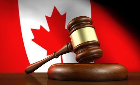 à   law: Ley y justicia de Canadá concepto con una representación 3D de un martillo sobre un escritorio de madera y la bandera canadiense en el fondo.