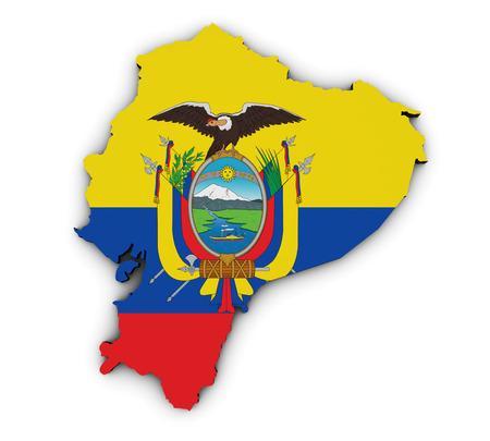 ecuador: Shape 3d of Ecuador map with Ecuadorian flag illustration isolated on white background.