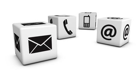 お問い合わせは、web とメール、携帯電話、アイコン、シンボルのウェブサイト、ブログのための 4 つのキューブと業務インターネット概念。