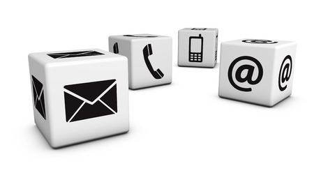 contact information: Contact us web and Internet concept with email, mobile phone and at icons and symbol on four cubes for website, blog and on line business.