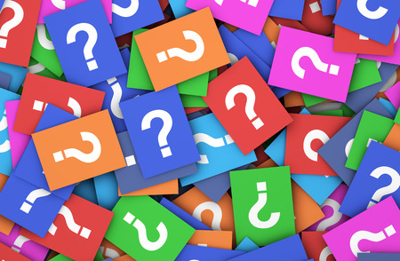 Business questions concept with a question mark symbol and sign on a multitude of scattered colorful papers.