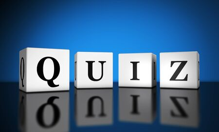 quiz: Website and Internet concept with quiz word sign on cubes with reflection and blue background for web and online business.
