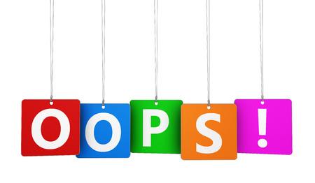 Error 404 Seite konnte nicht gefunden Konzept mit oops Zeichen auf bunten Tags für Blog, Website und Online-Geschäft.
