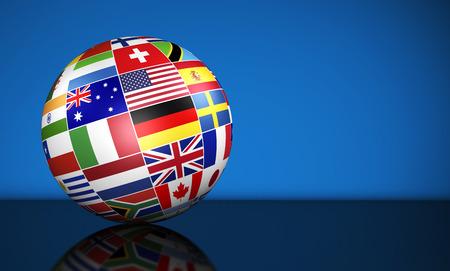 Viajes, los servicios, la educación y el concepto internacional de gestión de negocio con un globo y banderas internacionales del mundo sobre fondo azul con copia espacio. Foto de archivo - 41504677