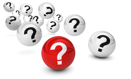 questions: Customer questions and question mark symbol on bouncing glossy spheres 3d render isolated on white background.