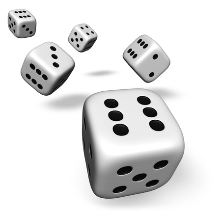 backgammon: Render 3d of five rolling white dice with one showing number six illustration isolated on white background. Stock Photo