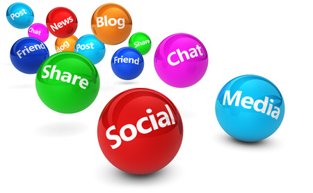 Web en Internet concept met sociale media en sociale netwerk tekens en woorden op stuiterende kleurrijke bollen op een witte achtergrond. Stockfoto