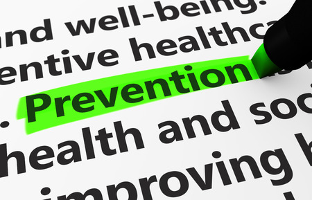 preventing: Preventive healthcare concept with a 3d render of medical related words and prevention text highlighted with a green marker. Stock Photo