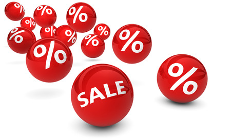 Shopping sale, reduction, discount and promo concept with red bouncing spheres and percent symbol sign on white background. Archivio Fotografico