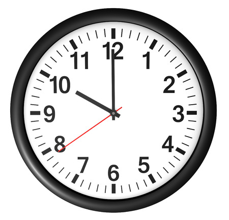12 o'clock: Wall clock icon and symbol for business and time concept with a full front view Stock Photo