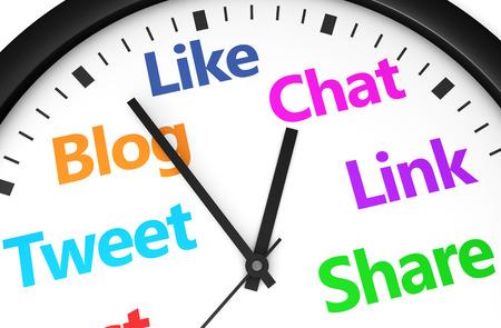 時計とソーシャル ネットワークの単語と記号とソーシャル メディア時間管理と web の戦略概念は、複数色 3 d レンダリング イメージで印刷されます 写真素材