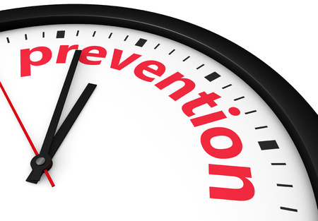 Time for prevention, health and safety lifestyle concept with a clock and prevention word and sign printed in red 3d render image. Фото со стока