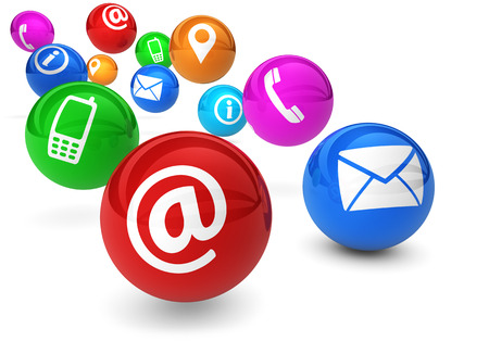 Email, web and Internet concept with contact and connection icons and symbols on bouncing colorful spheres isolated on white background. Foto de archivo
