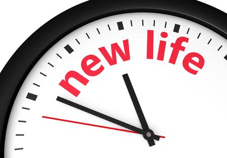 new life: Beginning of a new lifestyle concept with a clock and new life word and sign printed in red 3d render image.
