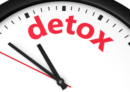 body care: Time for detox diet healthy lifestyle and body care conceptual image with a wall clock and detox text sign printed in red. Stock Photo