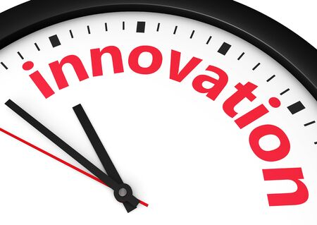 business innovation: Time for innovative business concept with a clock and innovation word and sign printed in red 3d render image.
