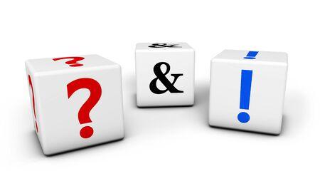 exclamation mark: Preguntas y respuestas, preguntas frecuentes web y contactos de negocio concepto de soporte central con signo de interrogación y signo de exclamación en los cubos aislados sobre fondo blanco.