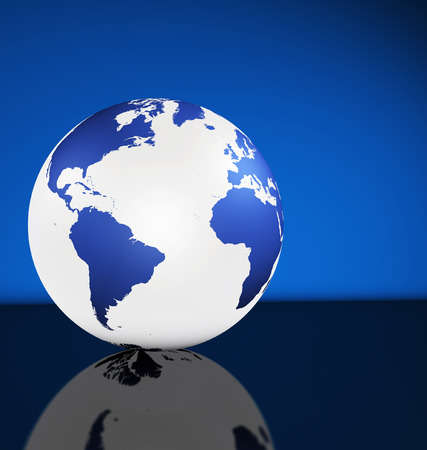 world wide: Travel, services and international business management concept with world map on a globe and blue background with copy space. Stock Photo