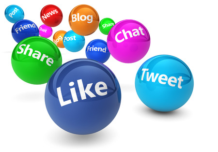 Web and Internet concept with social media and social network signs and words on bouncing colorful spheres isolated on white background.