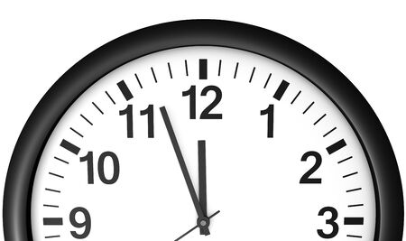 midnight hour: Time concept with a close-up face view of a black and white wall clock with clean design showing almost midnight hour.