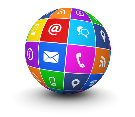 mail: Website and Internet contact us web icons and symbol on a colorful globe for blog and online business illustration on white background. Stock Photo