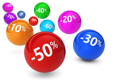reduction: Shopping sale, reduction, discount and promo concept with colorful bouncing spheres and percentage sign on white background. Stock Photo