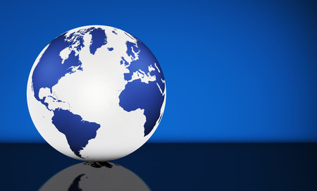 Travel, services and international business management concept with world map on a globe and blue background with copy space. Banque d'images