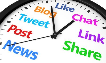 La gestion du temps dans les médias sociaux et le concept de stratégie web avec un mot d'horloge et le réseau social et signer imprimées en plusieurs couleurs 3d render image. Banque d'images - 43131508