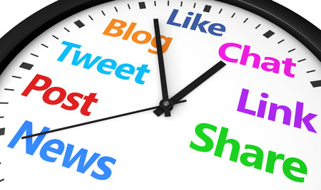 social media icons: Social media time management and web strategy concept with a clock and social network word and sign printed in multiple colors 3d render image.
